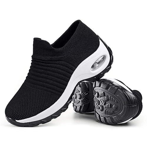 360b1a1b22f Women's Walking Shoes Sock Sneakers - Mesh Slip On Air Cushion Lady Girls  Modern Jazz Dance Easy Shoes Platform Loafers