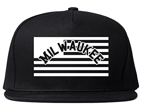 43fcf0800ed City Of Milwaukee with United States Flag Snapback Hat Cap Black at ...
