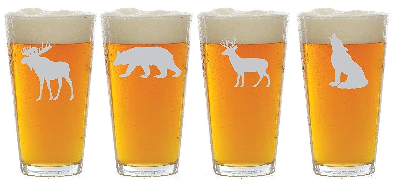 Wildlife Choice of Pilsner Beer Mug Bear 1 each of a Moose Wolf Deer Etched Wine Glass Pub Rocks