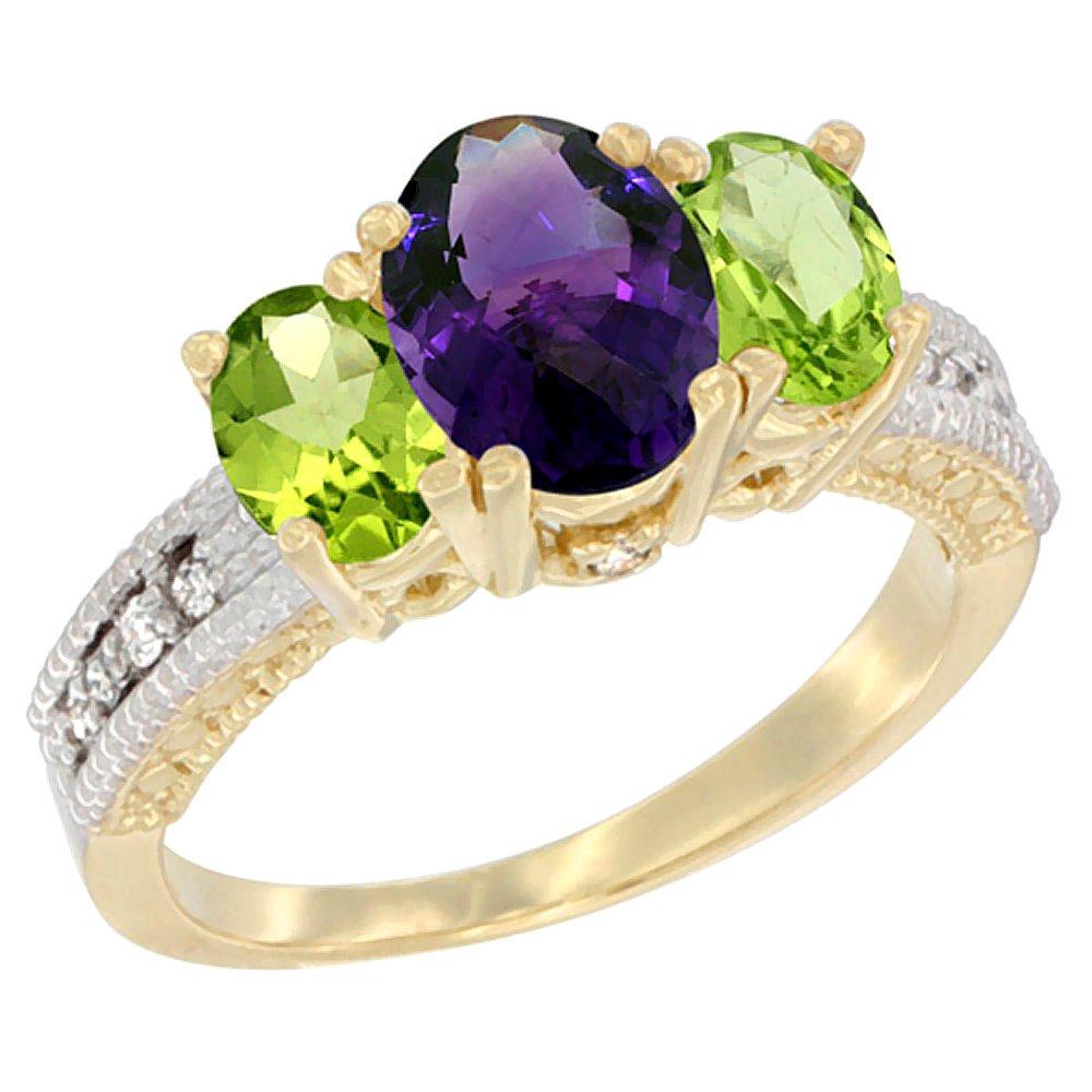 14K Yellow Gold Diamond Natural Amethyst Ring Oval 3-stone with Peridot, size 7