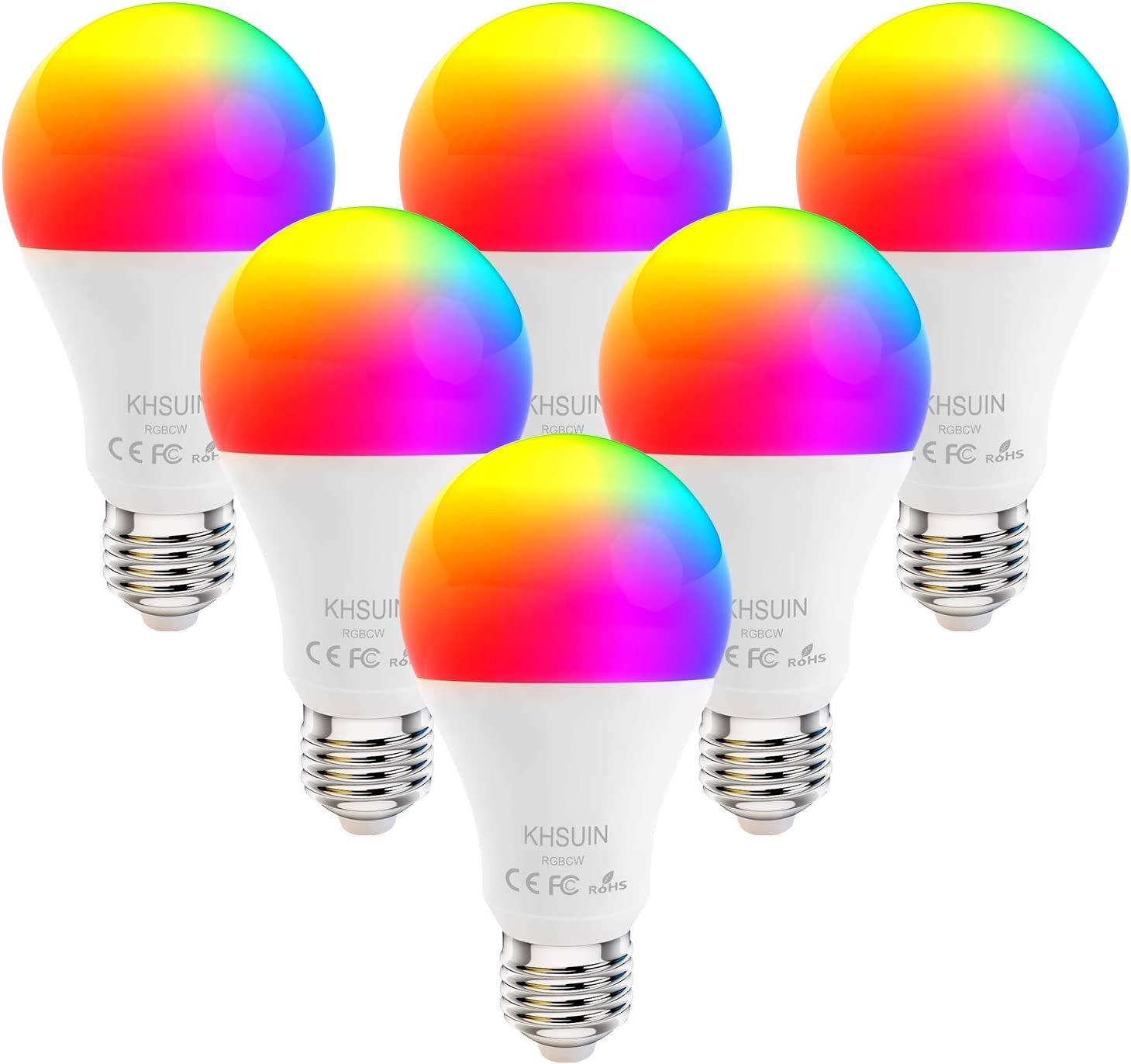 Smart Bulbs, 6 Pack 7W Led Alexa Light Bulbs with RGB Color Changing,2.4G WiFi Bulbs A19 E26 Base,No Hub Required,Smart Light Bulb Works with Alexa and Google Home