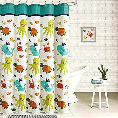Wimaha Kids Shower Curtain, Fabric Shower Curtains Soft Funny Shower Curtain Cartoon Animal Print Eco-Friendly for Children's Bathroom Bathtub, Tortoise and Fish, 72W x 72L - Waterproof soft touch fabric in eco-friendly printing cute cartoon theme tortoise and fish, ideal funny shower curtain for kids. Environmental technique processed this kids shower curtain, nontoxic and no odor. Antibacterial, mold &mildew resistant featured this shower curtain, shall be the most suitable one for you and your kids. - shower-curtains, bathroom-linens, bathroom - 61Nh9DED5LL. SS400  -