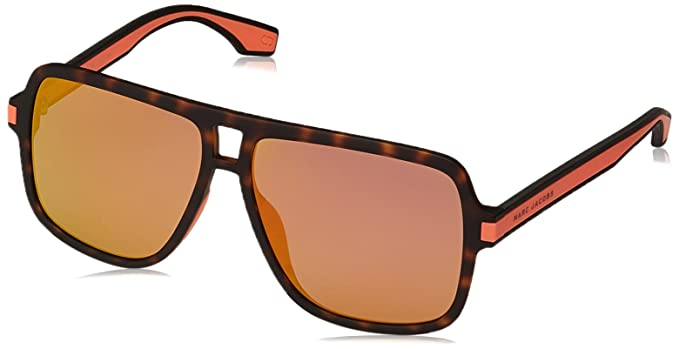 f316f7fe589a Marc Jacobs Iconic Stripes Neon Oversized Square Sunglasses in Havana  Orange MARC 288 S L9G 58 58 Orange Mirror Havana Orange  Amazon.co.uk   Clothing
