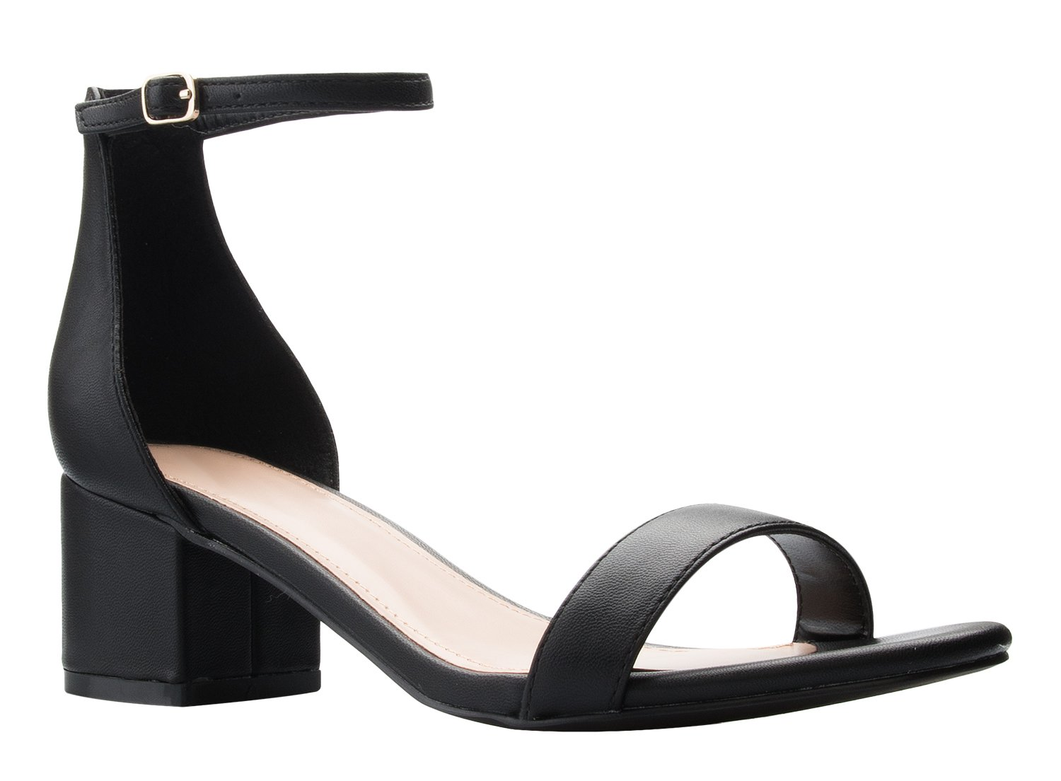 OLIVIA K Women's Ankle Strap Kitten Heel – Adorable Low Block Heel,Black Pu,8.5 B(M) US by OLIVIA K (Image #1)