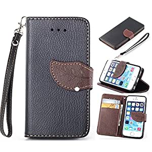 iPhone 6 Case Leather,6 Case,iPhone 6 Wallet Case,Creativecase Fashion Leaf Style PU Leather Wallet Design With Credit ID Card Case for iPhone 6 4.7 inch