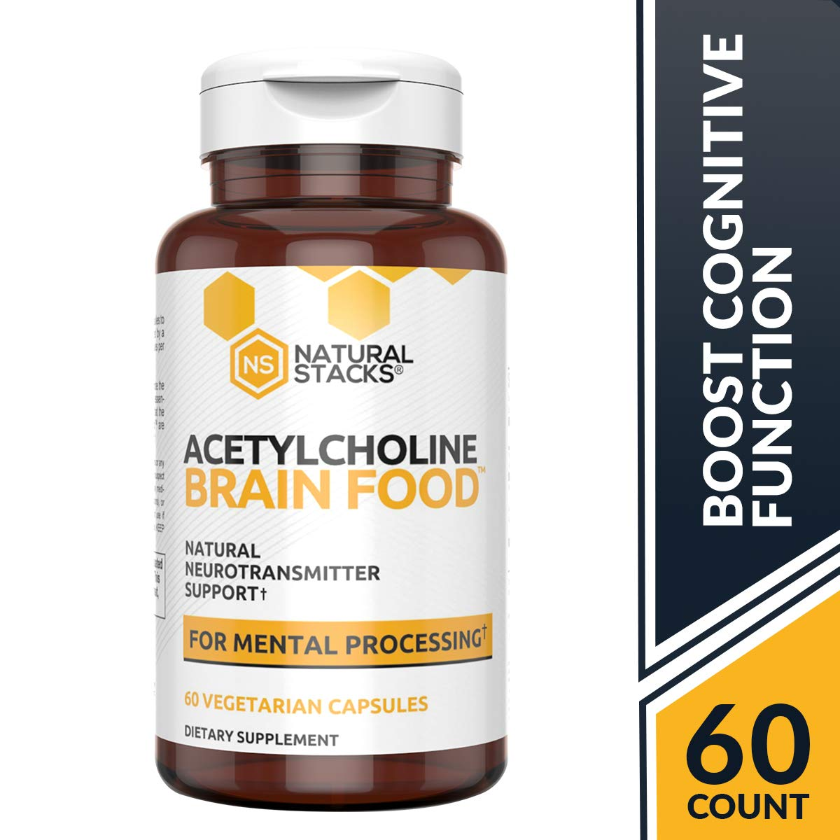 Natural Stacks Acetylcholine Brain Food – Natural Brain Supplement – 30 Day Supply – Boosts Cognitive Function – Provides Better Mental Clarity – Helps Cut Through Brain Fog