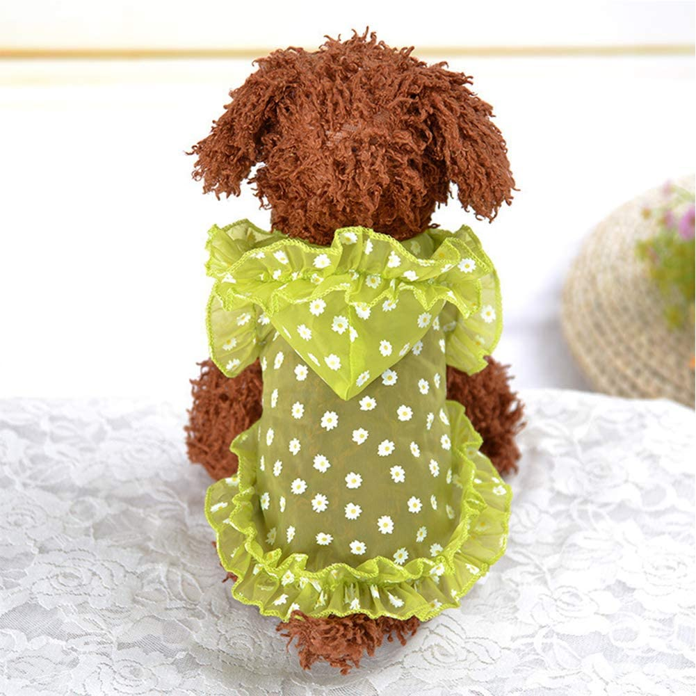 Cylan, S Yu-Xiang Dog Rash Guards with Hat Pet Lace Dress Sun-Proof Wear Dogs Sun-Protective Clothing Summer Suit Chrysanthemum Costume for Small Medium Dog