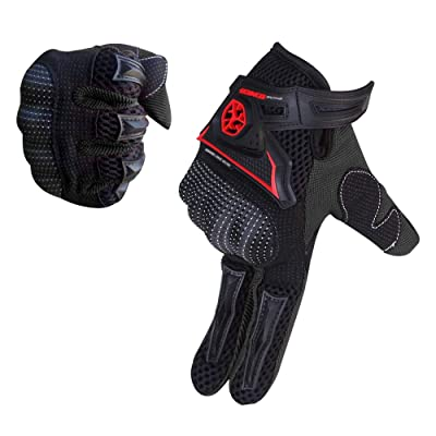 SCOYCO Summer Microfiber Protective Hard Knuckle Shockproof Antislip Breathable Portable Outdoor Cycling Racing Motorbike Scooter Motorcycle Glove (BLACK,L): Automotive