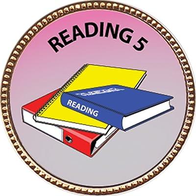 Keepsake Awards Reading 5 Award, 1 inch Dia Gold Pin Scholarship Studies Collection: Toys & Games