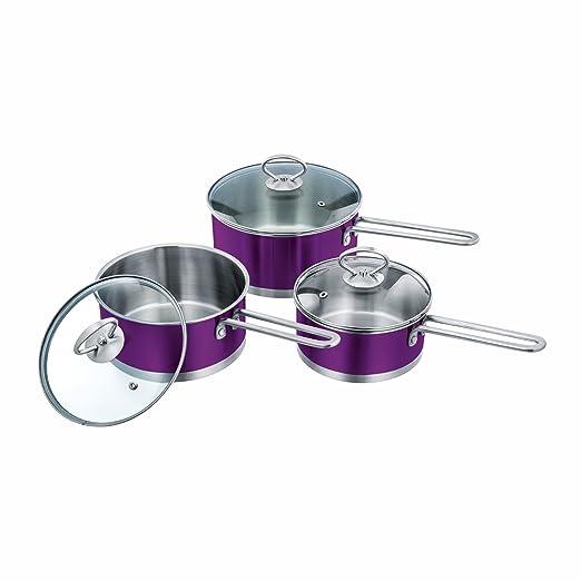 3pc Set de cocina de acero inoxidable olla cazo con tapa ...