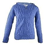 100% Irish Merino Wool Ladies Hooded Aran Zip Sweater by West End Knitwear Blue,Large