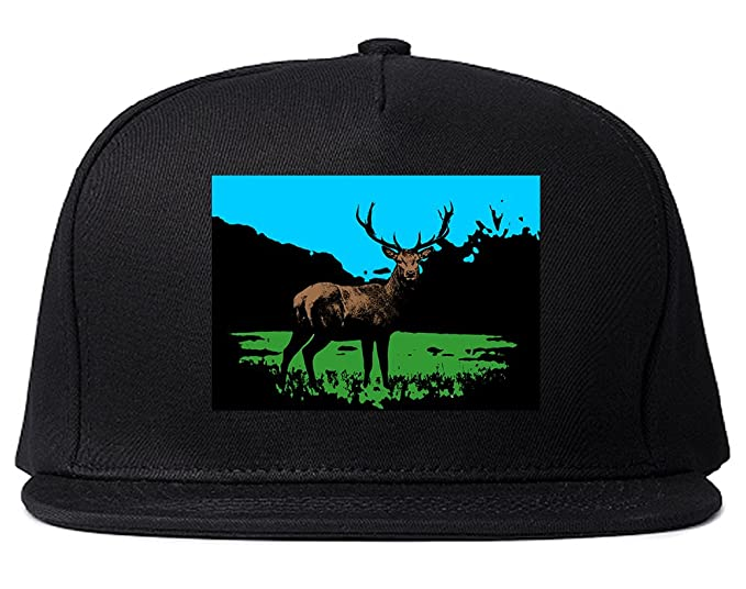 Deer with Antlers in Nature Art Snapback Hat Cap Black at Amazon ... f10f43ade2