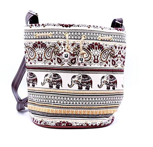 [TRNS Thailand Elephant Print Drawstring Shoulder Handbag (Brown)] (Sharon Brown Wig)