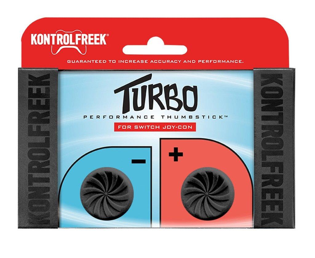 KontrolFreek Turbo Thumb Grips for Nintendo Switch Joy-Con   Performance Thumbsticks   2 High-Rise Concave   Black by KontrolFreek