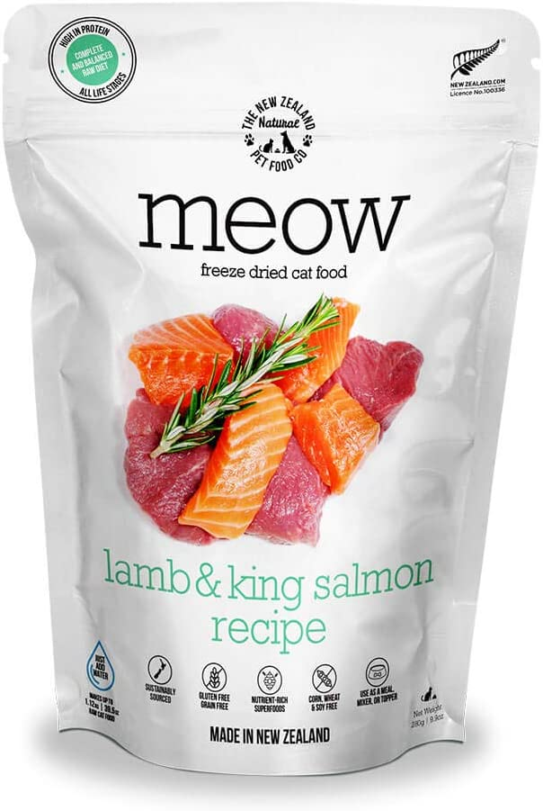 Meow Lamb & King Salmon Freeze Dried Raw Cat Food, Mixer, or Topper - High Protein, Natural, Limited Ingredient Recipe 9 oz