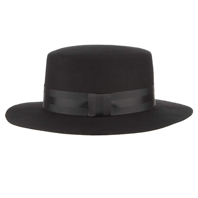 DOSOMI Autumn Winter Wide Brim Fedoras Men Jazz Hat Flat Brim Felt Cap Wool Fashion Women Jewish Hat