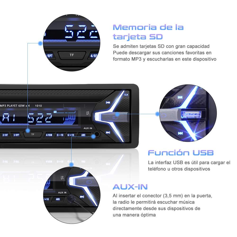Radio Coche RDS Bluetooth YOHOOLYO Auto Radio FM USB MP3 Audio Est/éreo Manos Libres In-Dash Conector ISO