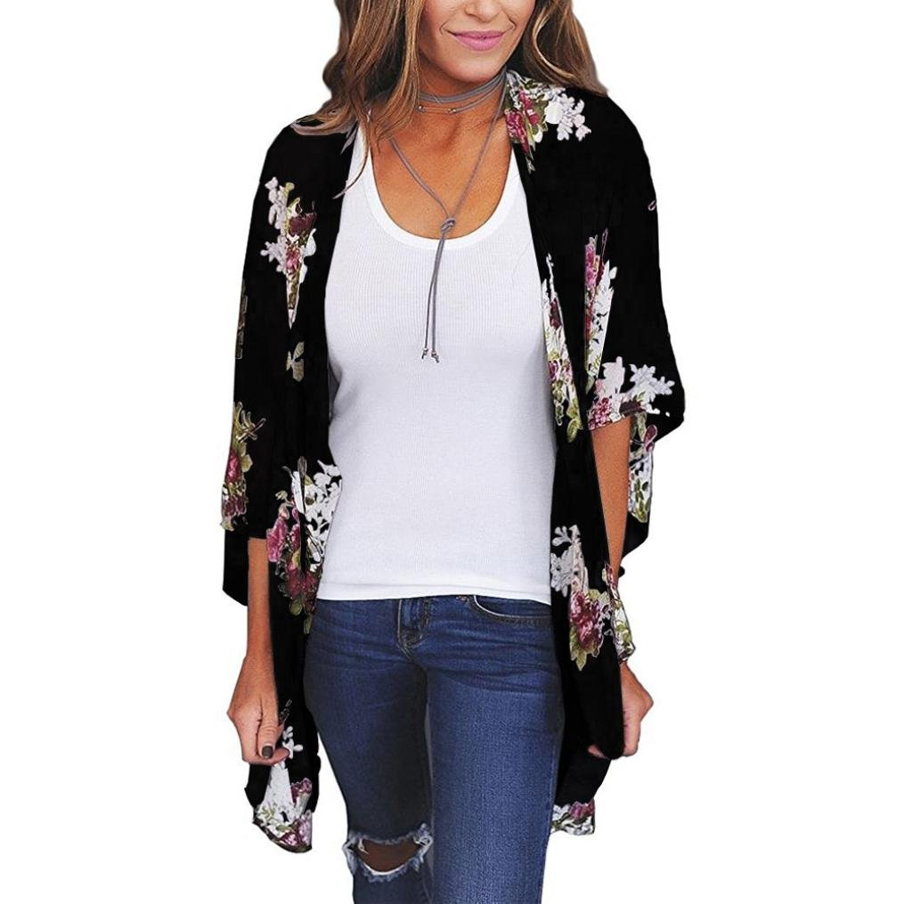CUCUHAM Women Chiffon Loose Shawl Print Kimono Cardigan Top Cover Up Blouse Beachwear (XXL, Black)