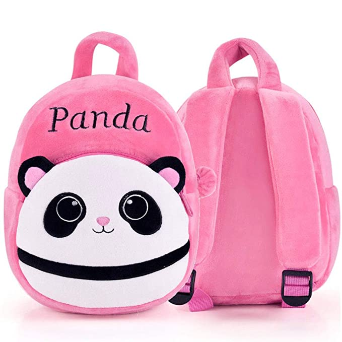 DZert Panda Kids School Bag Soft Plush Backpacks Cartoon Baby Boy/Girl (2-5 Years) (Light Pink)