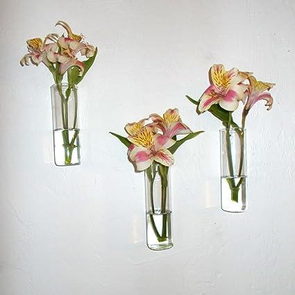 Amazon Set Of Three Hand Blown Glass Wall Vases Home Kitchen