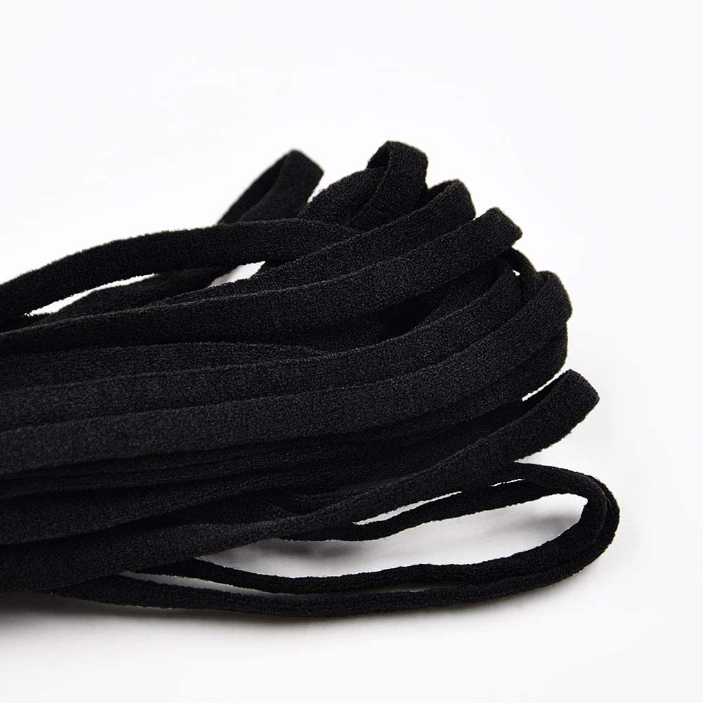 6mm ZAKASA Elastic Band Braided Stretching Cord Elastic Ear Rope for Sewing and Crafting 10//20//30 Yards White Black Black, 10 Yards-1//4 inch