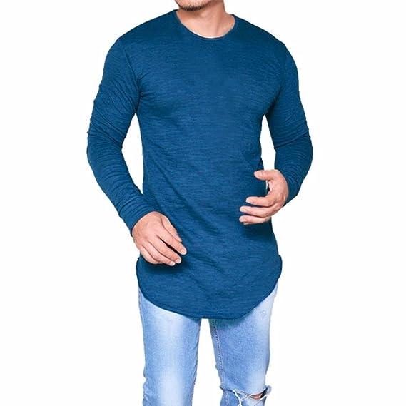 OverDose Camisetas Hombre Manga Larga Delgada del O-Cuello Ocasional Blusa de Las Tapas (