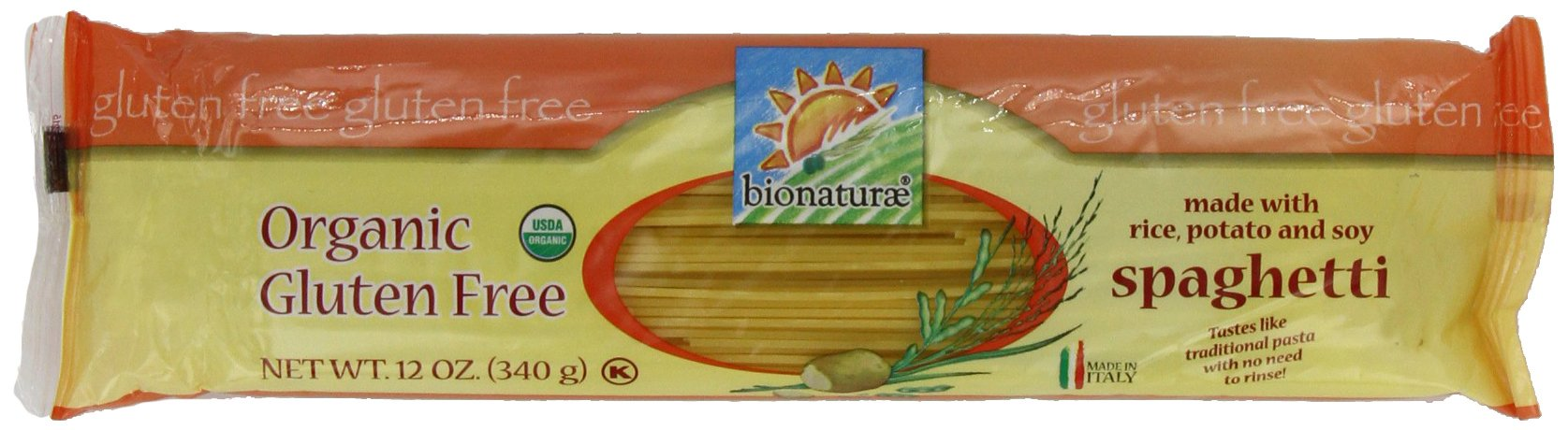 bionaturae Organic Spaghetti, Gluten Free, 12-Ounce Bags (Pack of 6)