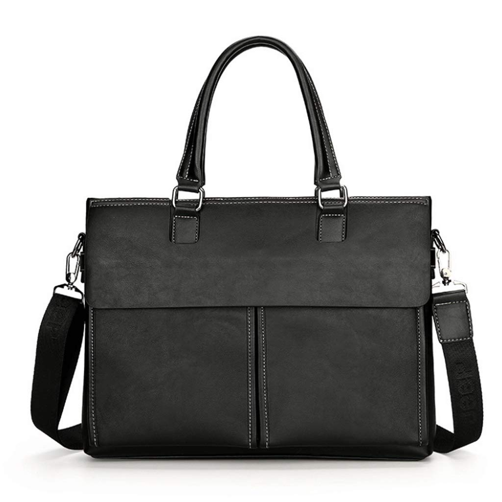 DONGLU Portable Messenger Computer Briefcase Mens Business Color : Black, Size : 2#