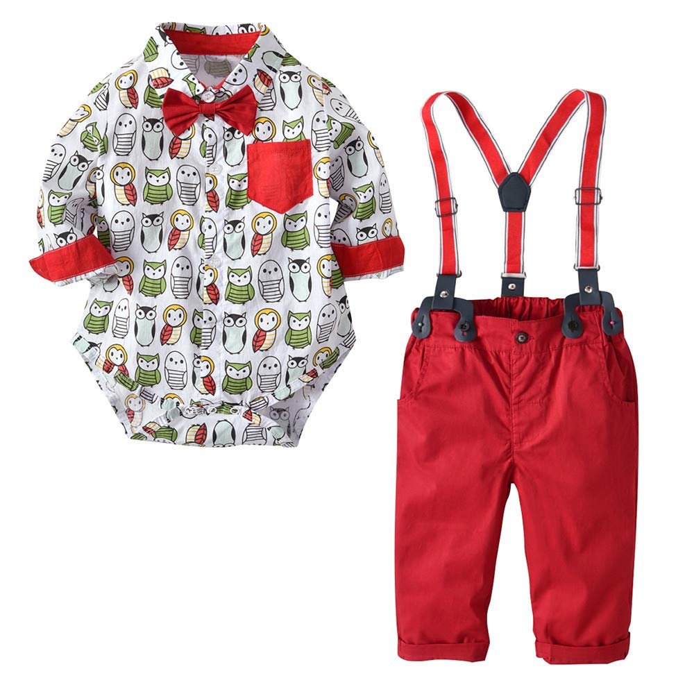 3c005d219 Amazon.com: Newborn Baby Boys Gentleman Outfit Set Cartoon Owls Bow Romper  Jumpsuit + Suspenders Pants Party Clothes: Clothing