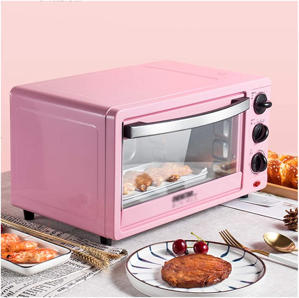MDEOH  Household Small Electric Oven Multifunctional Baking Oven Accurate Temperature Control Time Saving Energy 12 Liter 800 Watts Pink