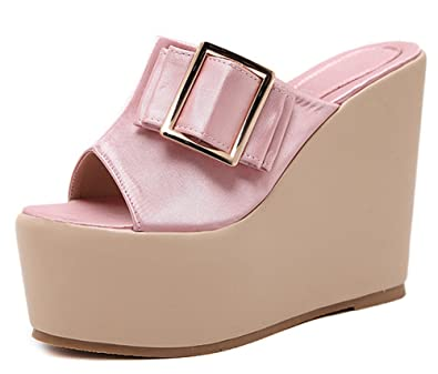 0b102fbeb5d6 IDIFU Women s Sexy Super High Wedge Heels Platform Summer Slippers Sandals ( Pink