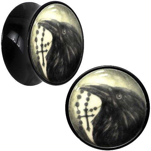 Negro Acrílico Raven brilla en la oscuridad Dilatador Par 20mm: Amazon.es: Joyería