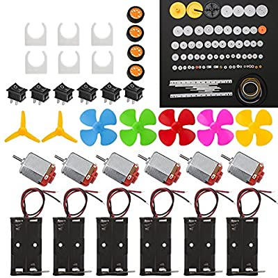 6 Set DC Motor Kit, Rectangular Mini Electric Motor 1.5-3V 24000RPM with 86 Pcs Plastic Gears, 2 x AA Battery Holder,Motor Mounting Bracket,Boat Rocker Switch,Shaft Propeller for DIY Science Projects