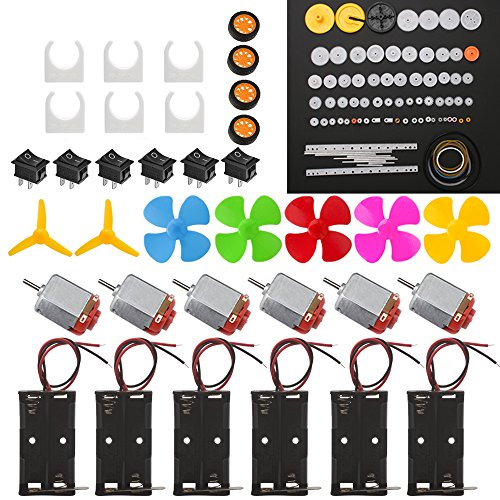 6 Set DC Motor Kit, Rectangular Electric 1.5-3V 24000RPM Mini Motor with 86 Pcs Plastic Gears, 2 x AA Battery Holder,Motor Mounting Bracket,Boat Rocker Switch,Shaft Propeller for DIY Science Projects