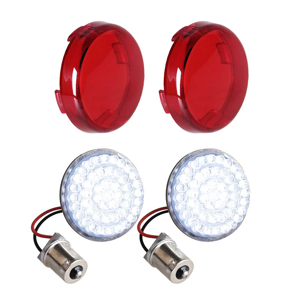 NTHREEAUTO Bullet Rear Turn Signals 1156 LED Lights Panel for Harley Dyna Street Glide Road King