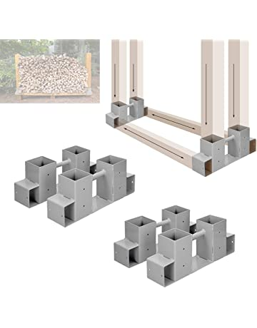 ECD Germany 4 x Soportes de Hierro para apilamiento de leña Conectores para armar estantes de