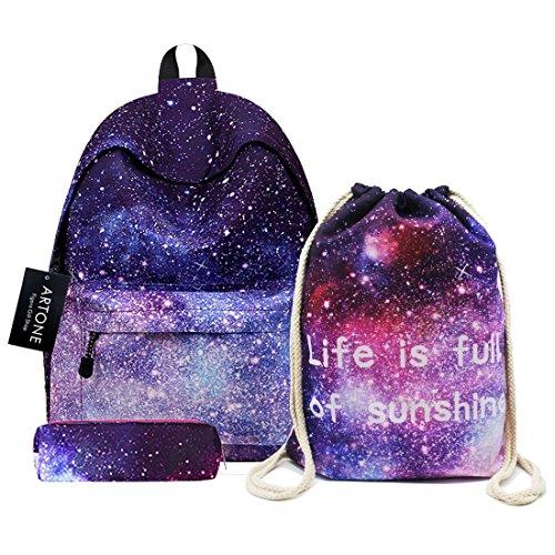 Artone Galaxy - Mochila escolar de gran capacidad, estilo casual, Deep Blue Universe Galaxy 14' Set of 3, Juego de 3
