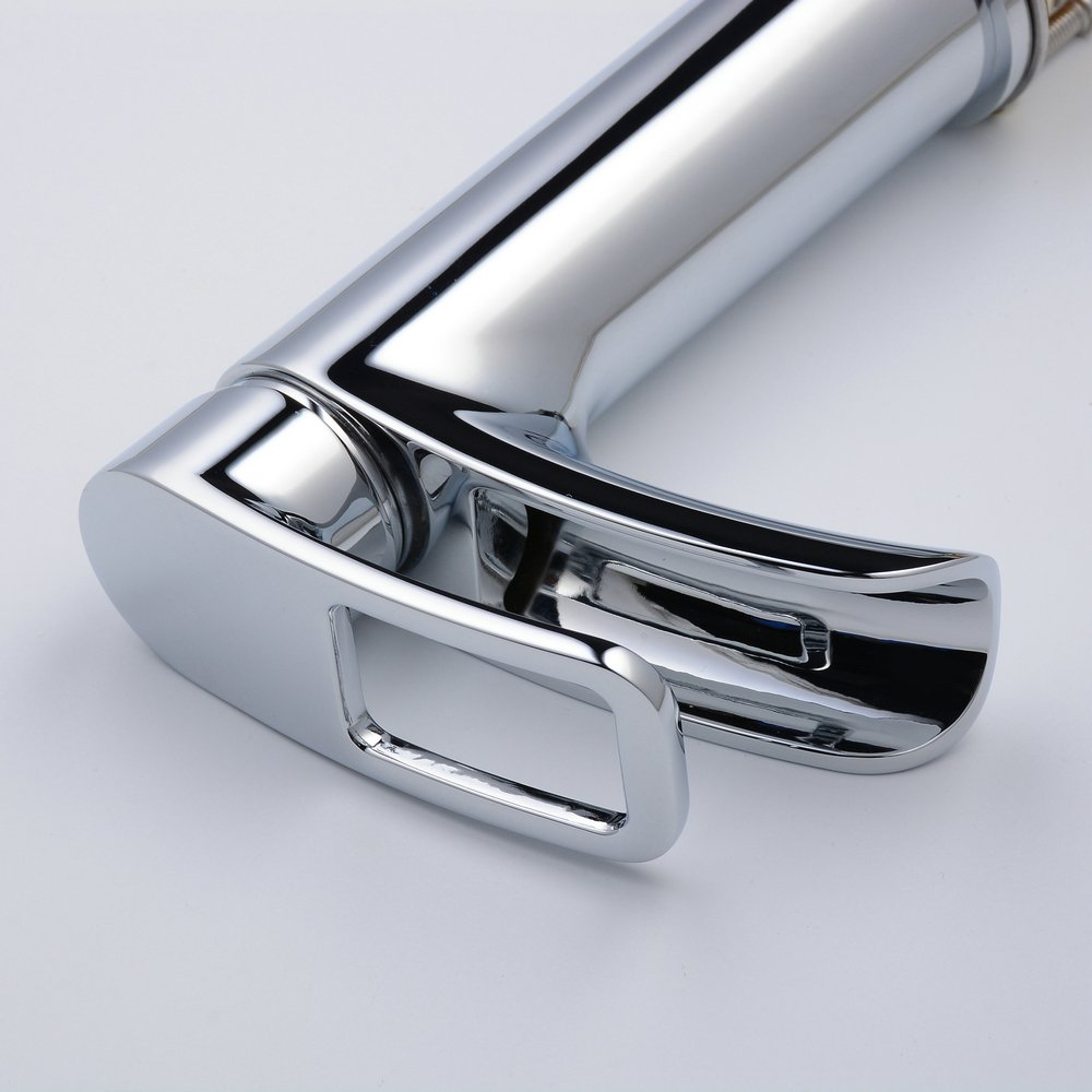 without Drain Ollypulse Waterfall Brushed Nickel Bathroom Sink Faucet Single Handle One Deck Mount Lavatory Vanity Sink Faucet