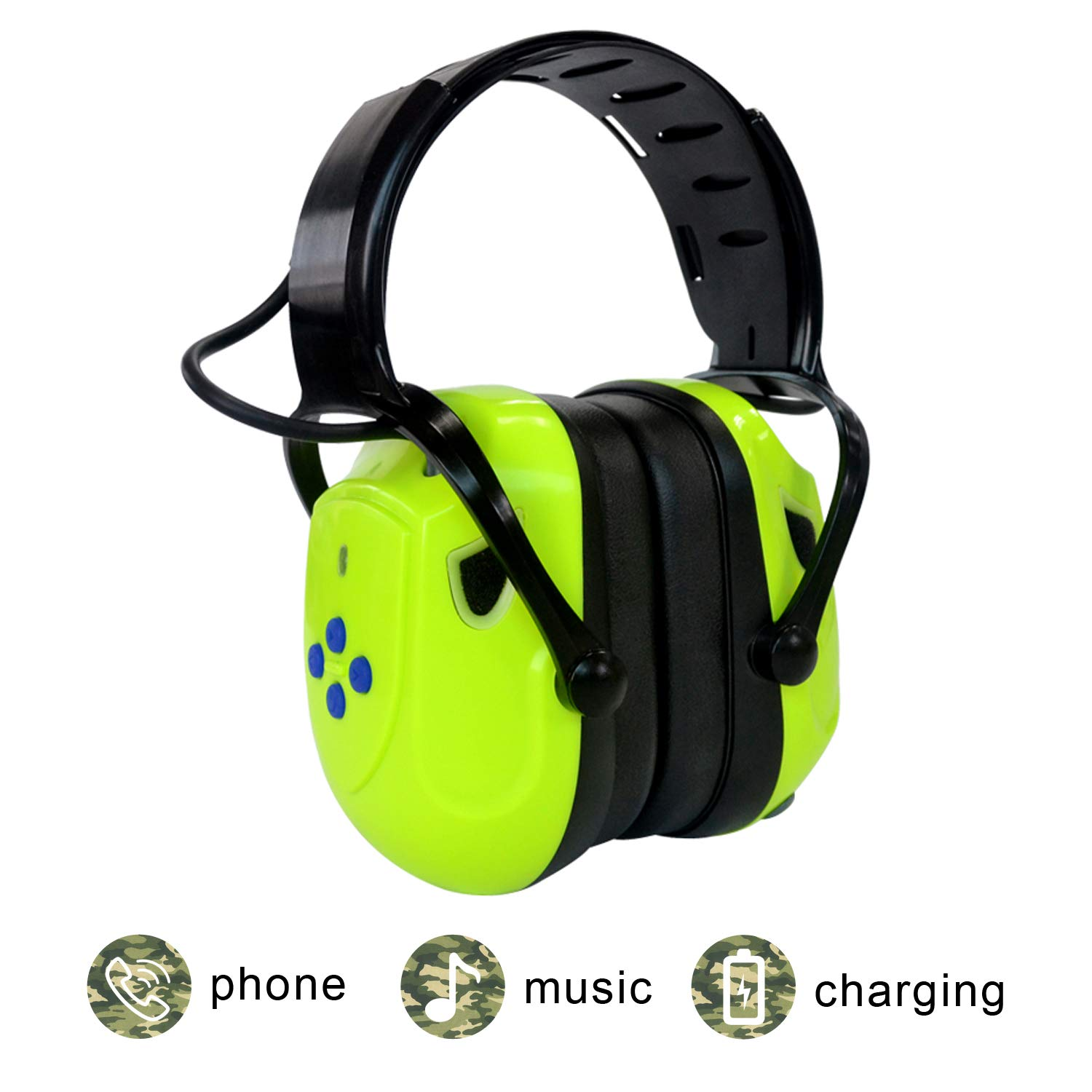 Electronic Shooting Earmuffs, EAREST Rechargeable Bluetooth Ear Muffs Headphone/Sound Amplification Noise Reduction Ear Protection, Ideal for Shooting and Hunting,Fluorescent Green