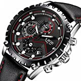 Mens Black Leather Wrist Watches Analog Quartz Chronograph Casual Auto Date Fashion Black Design