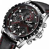 Mens Black Leather Wrist Watches Analog Quartz Chronograph Casual Auto Date Fashion Black Design
