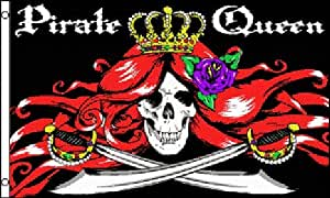 Pirate Queen Sword and Skull Rose Polyester 3x5 Foot Flag Jolly Roger Banner Ft