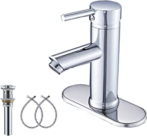 GGStudy Chrome Single Handle One Hole Bathroom Sink Faucet Stainless Steel Bathroom Vanity Faucet Matching Pop Up Drain with Overflow and Cover Plate