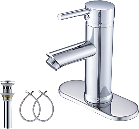 GGStudy Chrome Single Handle 1 Hole Bathroom Faucet Stainless Steel Sink Faucets Matching Pop Up Drain with Overflow