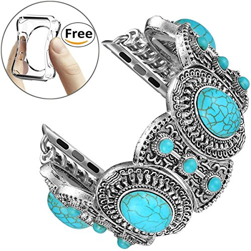 Fastgo for Apple Watch Band, Bohemian Ethnic Antique Style for Iwatch Strap Band With Turquoise for - Antique Cell Phone