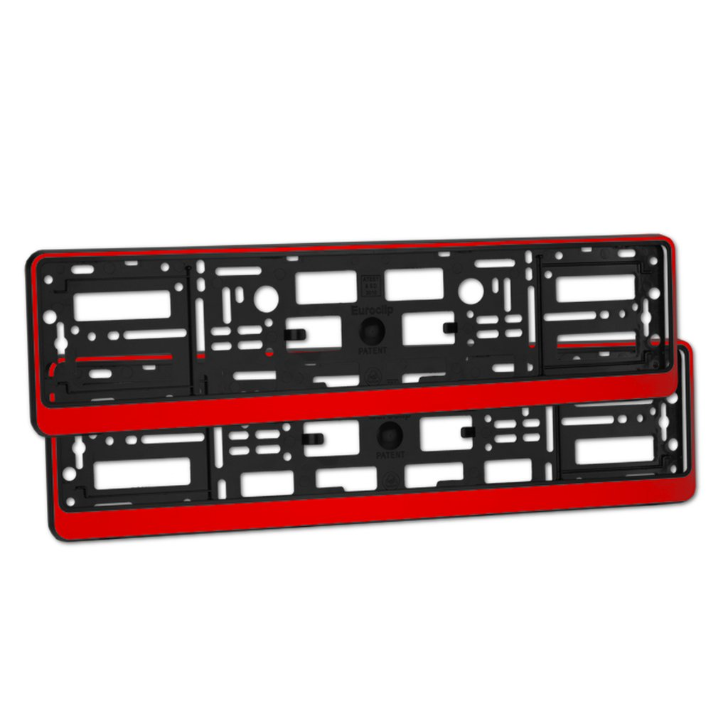 2 x Glossy Red Finish Number Plate Holders/Car Registration Surrounds/Front & Rear Frames Sola
