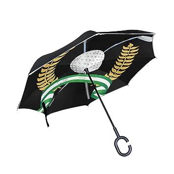 BENNIGIRY Paraguas invertido para Palos de Golf, Plegable en el Interior hacia Abajo, Paraguas