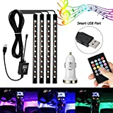 #6: AMBOTHER 4Pcs Car LED Interior Light Neon Floor Atmosphere Decorative Underdash Strip Lights Kit, 48-LEDs Multi Color with Sound Active and IR Wireless Remote Control, Dual Smart USB Ports Car Charger
