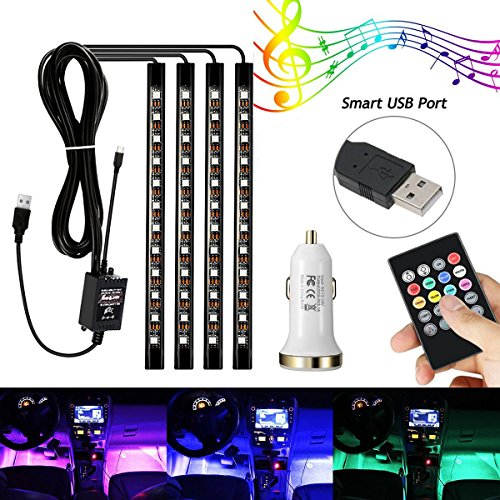 AMBOTHER-4Pcs-Car-LED-Interior-Light-Neon-Floor-Atmosphere-Decorative-Underdash-Strip-Lights-Kit-48-LEDs-Multi-Color-with-Sound-Active-and-IR-Wireless-Remote-Control-Dual-Smart-USB-Ports-Car-Charger