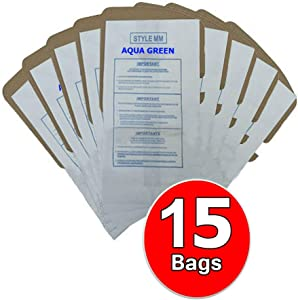 AQUA GREEN Premium Replacement MM Vacuum Cleaner Dust Bags for Eureka Style MM. Replaces Part# 60295C (15 Bags)